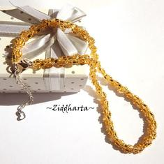 GOLDEN Gulden Helix Necklace Miyuki & Jablonex Seed Beads Necklace DNA Handsewn Beaded Rope - Jewelry Handmade by Ziddharta of Sweden