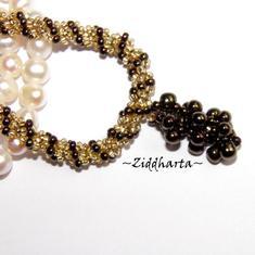 "Necklace BronzeGolden Spiral Rope w beaded ""Grape"" Pendant - Handmade beaded Jewelry and Beading by Ziddharta"