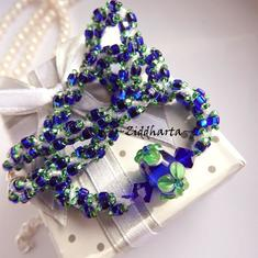 Electric Blue Green FLOWER Necklace Handmade Cobolt Peridot Flower LampWork Swarovski Crystals Cobalt Necklace Handsewn Miyuki by Ziddharta