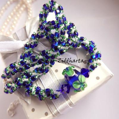 Electric Blue Green FLOWER Necklace Handmade Cobolt Peridot Flower LampWork Swarovski Crystals Cobalt Necklace Handsewn Miyuki by Ziddharta
