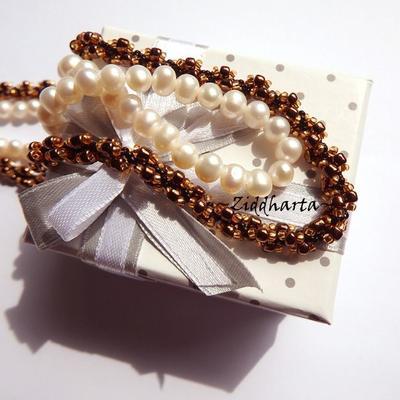 SteamPunk Bronze Copper Necklace Beading Hand Made w Miyuki & Jablonex Seed Beads Steam Punk Necklace DNA Handsewn Beaded Rope by Ziddharta