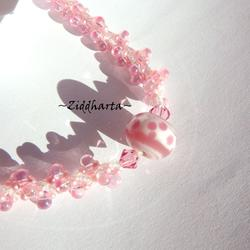 PINK Girl Necklace Dots Helix Necklace LampWork Pink Little Dots Swarovski Rose Necklace DNA Handsewn beaded Rope Necklace by Ziddharta