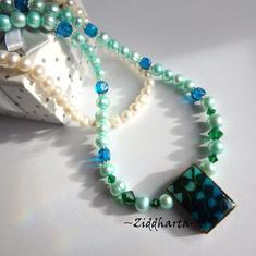Rare TEAL Kelly Green Necklace Freshwaterpearls Necklace Swarovski Crystals Dark Emerald Capri Blue Cubes Glass Beads- Handmade by Ziddharta