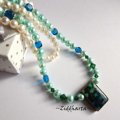 Rare TEAL Kelly Green Necklace Freshwaterpearls Necklace Swarovski Crystals Dark Emerald Capri Blue Cubes Glass Beads- Handmade by Ziddharta