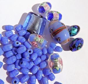LampWork pärlor paket Nr #9: Kornblått & Cobolt