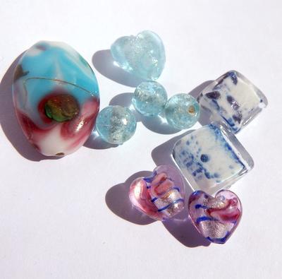 LampWork pärlor paket Nr #4: Murano Turkos /Rosa
