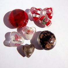 LampWork pärlor paket Nr #3: Red Black White