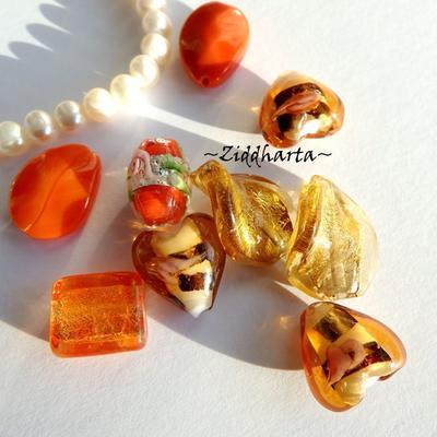 LampWork pärlor paket Nr #2: Golden Fire
