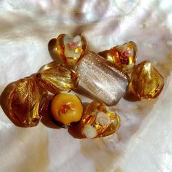 LampWork pärlor paket Nr #1: Golden /Amber
