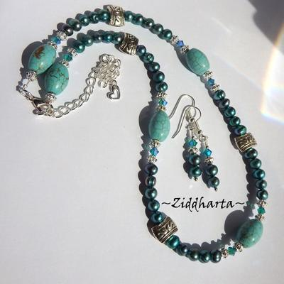 Unique TEAL Turquoise Necklace White Freshwaterpearls Necklace Swarovski Crystals Blue Zircon AB2x Necklace by Ziddharta