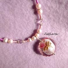 "Necklace ""PinkMagenta Lampwork Goldsand Pendant""  Freshwaterpearls Handmade Jewelry and Beadings by Ziddharta"