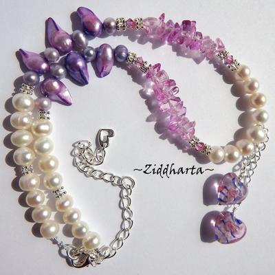 OOAK Unique Blue Pink Twin Hearts Necklace White Freshwaterpearls PINK glass chips Necklace Swarovski Crystals Rose AB Necklace by Ziddharta
