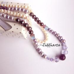 RARE Lavendel Alexandrite Necklace Purple Freshwater Pearls Swarovski Lilac Crystals Necklace Amethyst Gem Stone Bead Necklace by Ziddharta