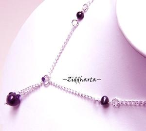 Amethyst Gem Stone Beads Necklace Swarovski Freshwater Pearls Halskette Kragen Halsband Necklace - Jewelry Necklaces by Ziddharta of Sweden