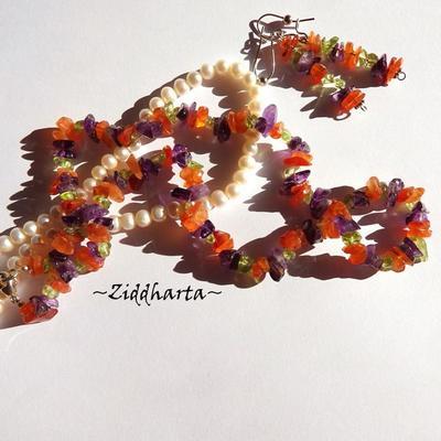 Gem Necklace Carneol Amethyst Peridot Necklace Earrings Carneol Necklace Amethyst Necklace Peridot Necklace- Handmade Jewelry by Ziddharta