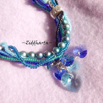 OOAK Unique BlueGreenTurkos Frenzy! Freshwater Pearls Swarovski Hearts Necklace Wearable Art Miyuki Necklace Handmade by Ziddharta of Sweden