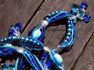 OOAK Unique BlueGreenTurkos Frenzy! Freshwater Pearls Swarovski Hearts Necklace Wearable Art Miyuki Necklace Handmade by Ziddharta of Sweden