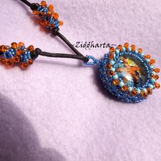 "OOAK Necklace 3D Glass Cabochon ""Sea Star"" beaded Miyuki Matsuno seedbeads fringe - Handmade beaded Jewelry and Beading by Ziddharta"