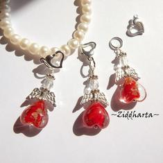 1 Ängla-hänge: Guldsand Love RED Röd GS Ängel - Angels Handmade by Ziddharta