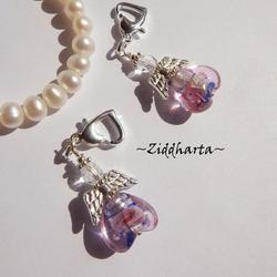1-2-3st Ängla-hänge: 12mm LW BluePink Lampwork pärla - Ängel - Handmade Angels by Ziddharta