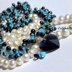 SÅLD: Dk Indigo & Turquoise Beaded Rope Swarovski Crystals: Hearts