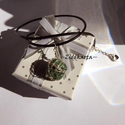 African Gem Stone Necklace Green Necklace Silver Plated Wired Wraps Halskette Kragen Halsband Gem Necklace - Jewelry Necklaces Handmade by Ziddharta
