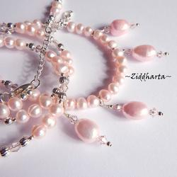 OOAK Long Necklace a lots of Pink Freshwater Pearls & Swarovski Crystals Light Rose - Handmade Jewelry and Beadings by Ziddharta
