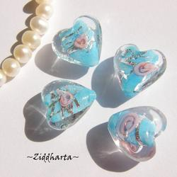 LampWork - 15mm Hjärta Turkos SF-stripes