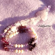 #16 OOAK Necklace RoseQuartz Butterfly Pendant Black Tourmaline Garnet gems White Freshwaterpearls - Handmade Jewelry and Beadings by Ziddharta