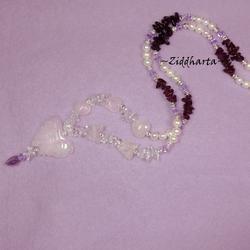 #16 OOAK Necklace RoseQuartz Butterfly Pendant Black Tourmaline Garnet gems White Freshwaterpearls - Handmade Jewelry and Beadings by Ziddharta