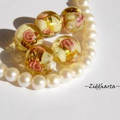 LampWork Runda 10-12mm - GOLD Striped