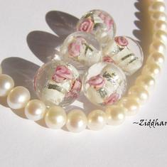 LampWork Runda 10-12mm - VIT SF-stripes